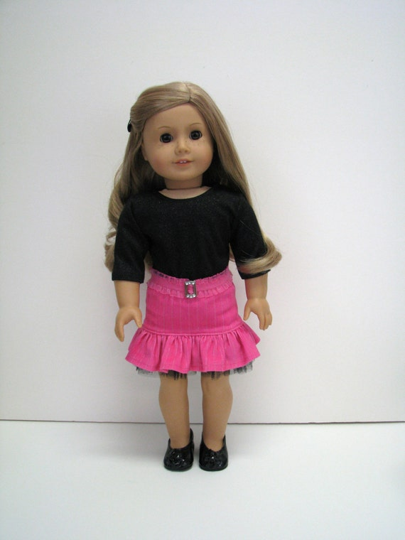"Fits Like American Girl Doll - 18 Inch Doll Clothes - 18 Inch Doll Outfit - 18"" Doll Top, Skirt and Belt - American Doll - A Doll Boutique"