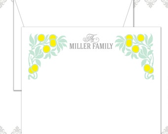 Fruit and Leaves stationery set of 12 cards and envelopes, Lemon stationery, Fruit note cards, modern fruit stationery, Leaves & fruit