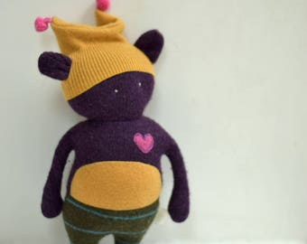 stuffed Bear Critter Monster OOAK doll with heart eco toy upcycled wool sweater Baby shower gift purple soft plush toy bubynoa critters