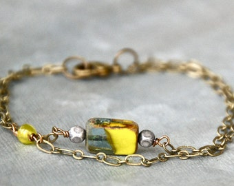 Colorful glass bead charm bracelet / geometrical bracelet / bohemian bracelet/ modern bracelet. Tiedupmemories