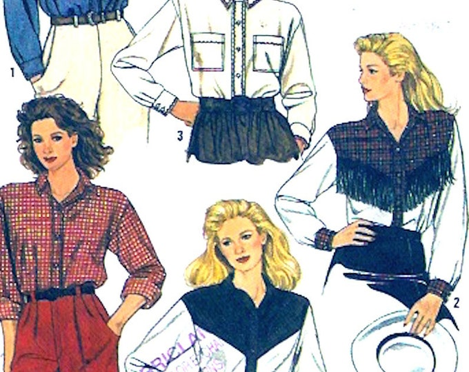 Womens western shirts southwestern Ladies Cow girl 80s vintage sewing pattern Simplicity 9372 Sz 6 to 12 UNCUT