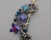 Ivy Vine Key Pendant -- Silver Wire, Wire Wrapped Key with Blue, Purple, Pink Ivy Leaves, Swarovski Crystals
