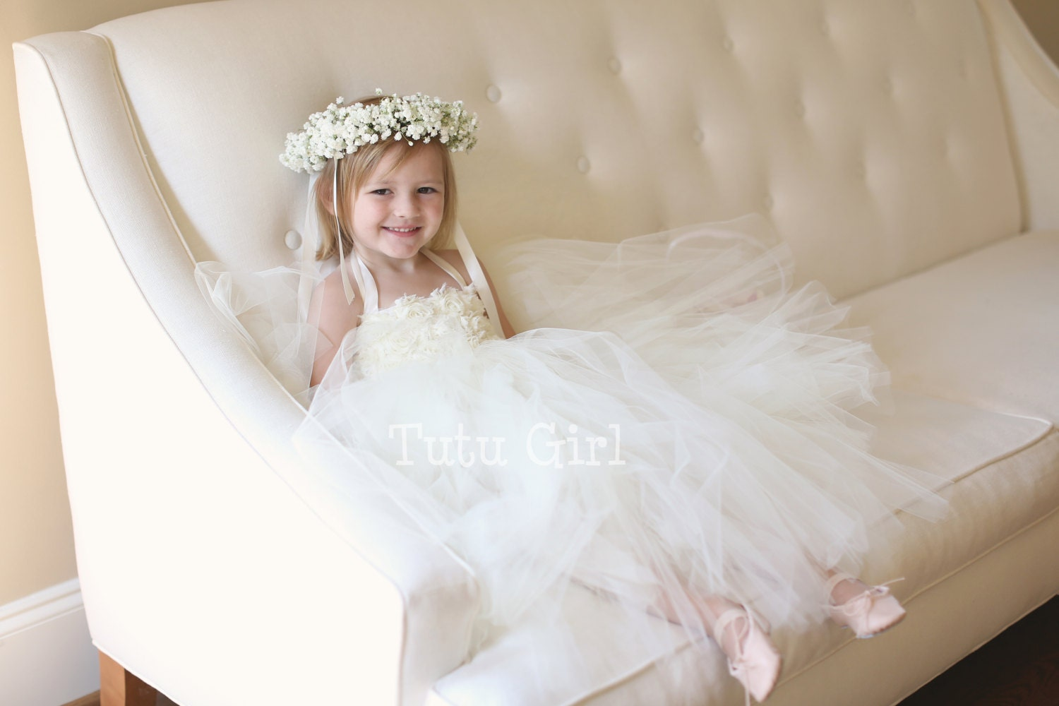Ivory Flower Girl Dress Tutu Dress with Flowers Ivory Flower