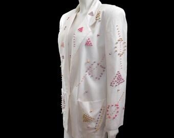 Vintage Beaded White Jacket// 80s Beaded White Cotton Jacket// Size M/L // 138