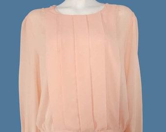 Vintage Pink Blouse// Romantic Blouse// Long Sleeve Shirt// Pale Pink Top// Size L // 207