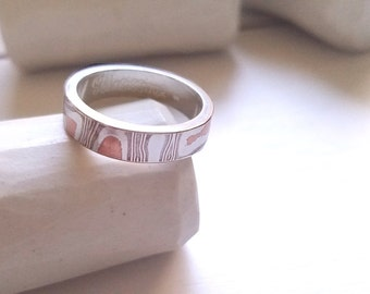 Mokume Gane Ring, Wedding Band, Sterling Silver and Copper