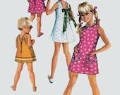 Vintage 1970s Jiffy Dress w/ Three Backs Sewing Pattern Simplicity 8816 Girls 70s Sewing Pattern Size 4 Breast 23