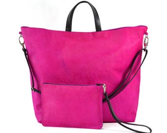 Nicole - Handmade Pink Hair On Hide Leather Tote Bag With Detachable Clutch SS17