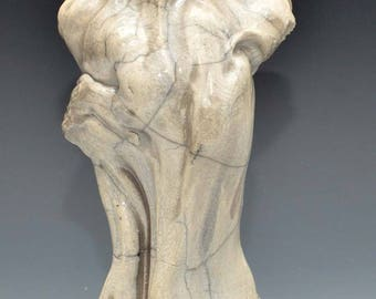 Small Figurative Sculpture of a Standing Woman in White Crackle Raku Ceramics Goddess Kwan Yin