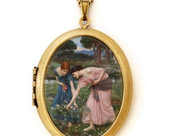 Gather Ye Rosebuds - Art Locket Necklace -John William Waterhouse - Famous Painting