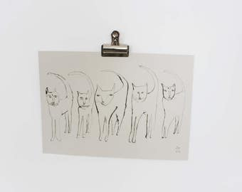 Five Cats in Ink | REDUCED