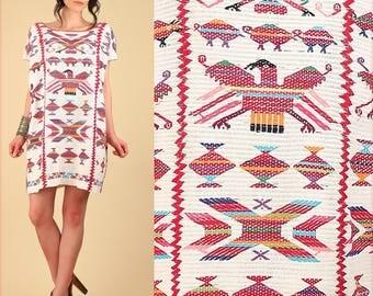 ViNtAgE 60's 70s Mexican Huipil Colorful BIRDS Handwoven Caftan Embroidered Mini Dress // Cotton Handmade Artisan Hippie BoHo Oaxacan