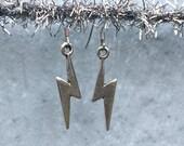 Little Silvery Lightning Bolt Earrings