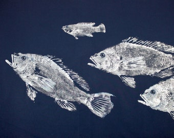 GYOTAKU fish Rubbing School of Black Sea Bass 8.5 X 11 Fisherman Gift quality Salt Water Art Print by artist Barry Singer