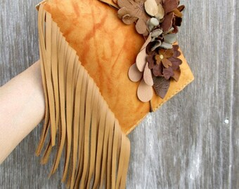Leather Flower Clutch with Fringe by Stacy Leigh in Butterscotch