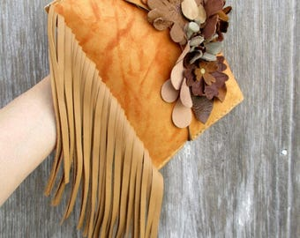 Leather Clutch with Leather Flowers and Fringe Small Leather Bag - Rustic Boho Style - Marbled Leather - by Stacy Leigh in Butterscotch