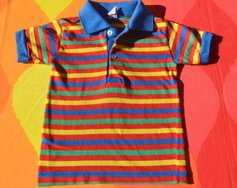 vintage 70s kids polo shirt RAINBOW striped golf donmoor white 80s childrens youth 4