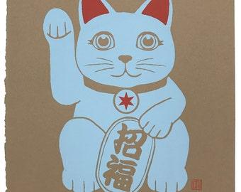 Hand Printed Maneki Neko (Fortune Kitty)