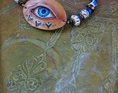 Lover's Eye Amulet - Azure and Sienna - Leather, Beaded Bracelet