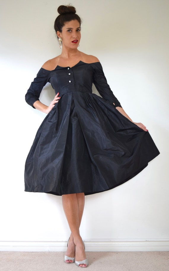 Vintage 50s 60s Inky Black New Look Party Dress with Winged Bodice and Rhinestone Buttons (size small, medium)