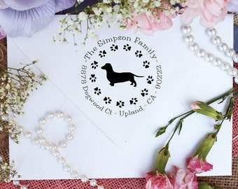 Dachshund Dog Stamp, Dachshund Lover Self Inking Custom Return Address Stamp, Cute Stamp for Dachshund Lover, Dog Stamp --10348-PI53-000