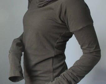 Sample Sale!/discount price/SIZE EXTRA SMALL/Ready to ship/dark olive and paisley hooded top with extra long sleeves