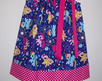 Pillowcase Dress with Ponies My Little Pony Dress Purple and Pink girls dress baby dress toddler dress Pony Party MLP Birthday Party