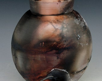Sagger fired porcelain urn b242 raku smoke
