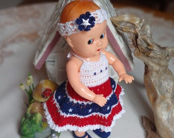 Crochet outfit for Ideal Boopsie 8 inch doll Girl Headband Halter Dress Shoes Panty Red White Blue Stars