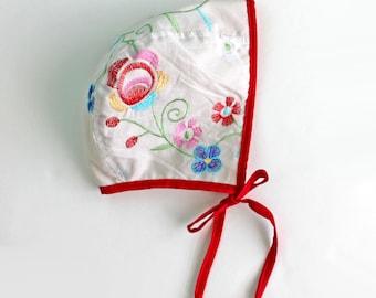 Baby Bonnet, Toddler Bonnet, Embroidered Bonnet, Garden Bonnet, Bonnet, Cotton Bonnet, Flower Bonnet, Brimless Bonnet, Unique Baby Gift