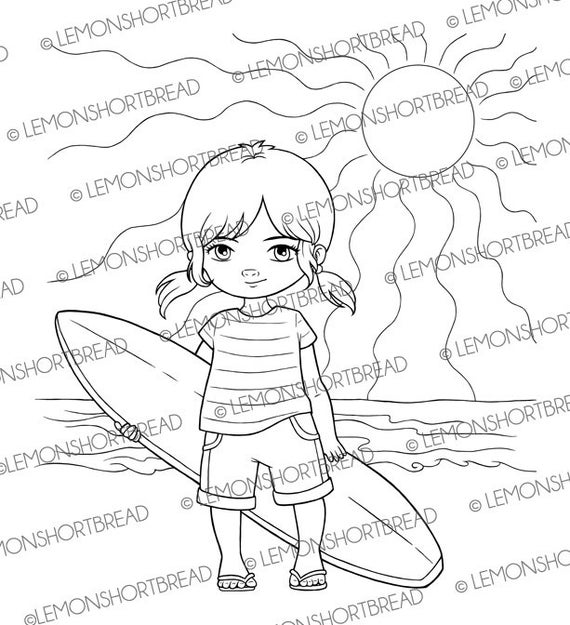 Digital Stamp Surfer Girl, Digi Beach Summer Sports, Surfing Children's, Clip Art, Coloring Page, Scrapbooking Supplies, Instant download