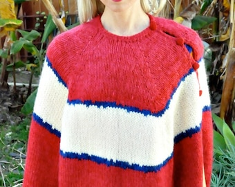 Cranberry Red VTG 60s Mohair Wool Knit Mod Cape w/Stripes+Fringe S/M/L/XL