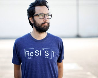 RESIST Protest Shirt - Resistance T Shirt for Men, Protest Shirt, Scientist Shirt, Climate Change Awareness Science March Shirt - Blue