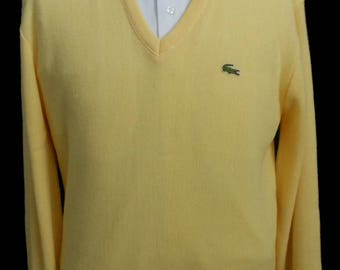 Vintage 90s Mens Lacoste Yellow Vee Neck Pullover, 1990s Sweater w Alligator Logo by Izod, M to L