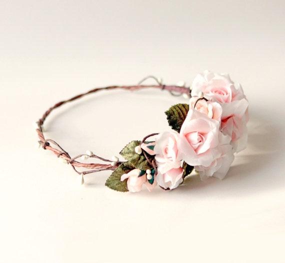 Blush rose crown, Pink floral hair wreath, Bridal flower crown, Woodland rustic wedding, Unique bridal accessory, Rose floral circlet