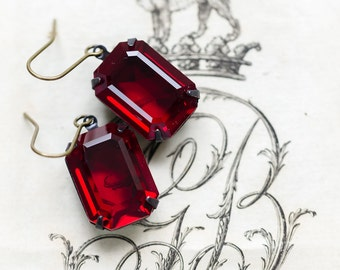 Siam Ruby Estate Style Earrings - FREE SHIPPING