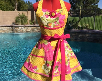 Ready to Ship - Pink Peony Sassy Apron with Petticoat, Womens Aprons, Misses  Kitchen Pin Up Apron, Southern Belle, Flower MArker, MArtha