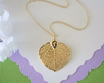 Small Aspen Gold Leaf Necklace, Mother Gift, Aspen Leaf Necklace, Real Leaf Necklace, Friend Gift, Gold Real Leaf, Rose Gold Leaf, Pink Gold