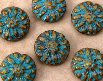 Glass Dahlia Flower Beads, Turquoise Beige, 14 MM, 6 Pieces, C529