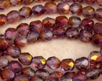 Czech Firepolished Glass Beads, 6mm Round, Purple Luster, 25 Pc. C357