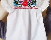 Toddler Top Little Girls Mexican Embroidered Dress Blouse White Mexican Top with Colorful Embroidery Southwest Boho Baby Top