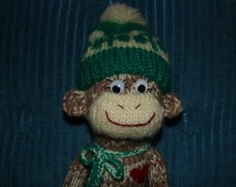 Knitted Irish Shamrock St. Patrick's Day Mocha Sock Monkey Toy Doll