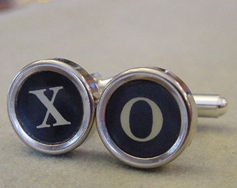 Typewriter key Cuff links  X O HUGS and KISSES  Men's CuffLinks - Mens typewriter key jewelry