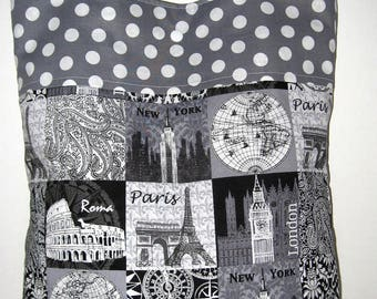 Paris New York Travel Tote Beach Bag Student Tote Teacher Nurses Tote World Traveler