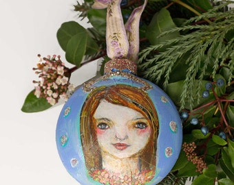 Handpainted Ornaments, Gift for Her, Gifts for Mom, Guardian Angel,