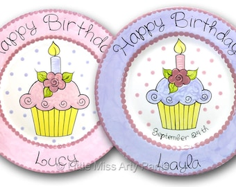 11 inch Personalized Birthday Plate - Flower Cupcake Design