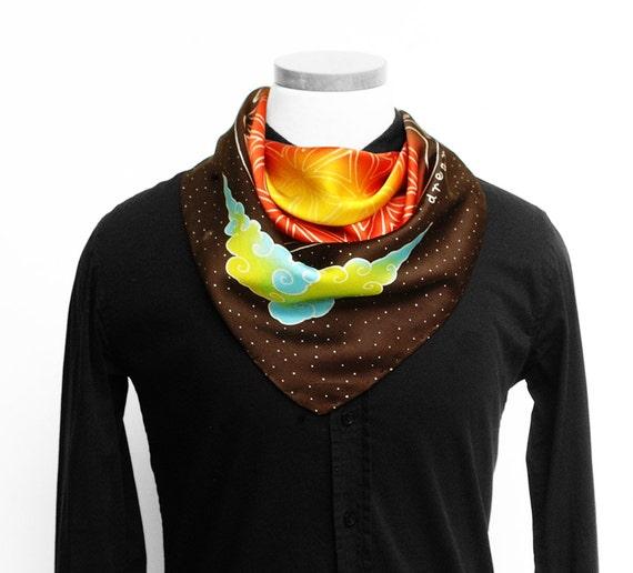 Silk scarf handpainted, Silk mens scarf, Flower of life, Mandala scarf, Hand made scarf, Sacred geometry, Square silk scarf, Luxury scarf