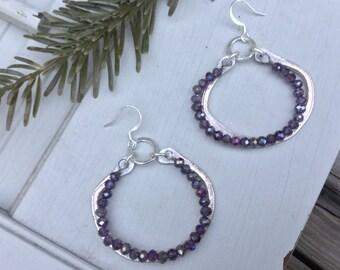 Pewter Boho Hoop Earrings | Bohemian Sterling Silver & Czech Glass Beads