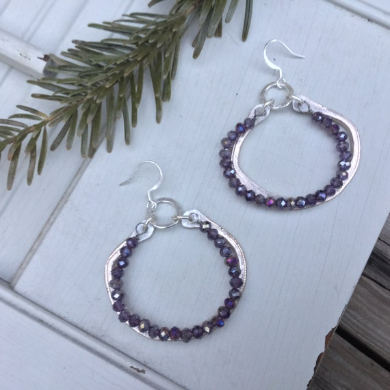 Pewter Boho Hoop Earrings | Bohemian Sterling Silver & Czech Glass Beads