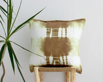 WARRIOR . tie dye cushion cover . pillow . throw cushion . decorative pillow . throw pillow . taupe green . boho gypsy hippie hippy tribal